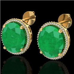 25 CTW Emerald & Micro Pave VS/SI Diamond Certified Halo Earrings 18K Yellow Gold - REF-254N5A - 202