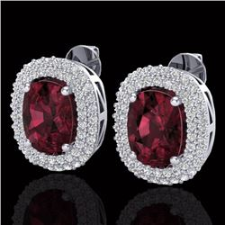 5.20 CTW Garnet & Micro Pave VS/SI Diamond Certified Halo Earrings 10K White Gold - REF-97H5M - 2011