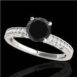 1.18 CTW Certified VS Black Diamond Solitaire Antique Ring 10K White Gold - REF-49H8M - 34606
