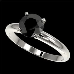 1.50 CTW Fancy Black VS Diamond Solitaire Engagement Ring 10K White Gold - REF-47W3H - 32925