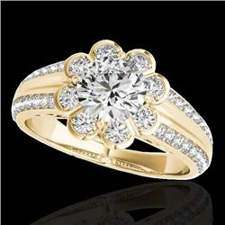 2.05 CTW H-SI/I Certified Diamond Solitaire Halo Ring 10K Yellow Gold - REF-363M5F - 34479