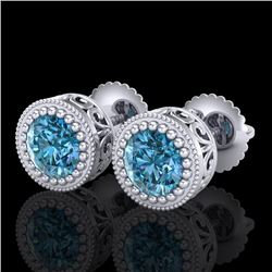 1.09 CTW Fancy Intense Blue Diamond Art Deco Stud Earrings 18K White Gold - REF-123W6H - 37481