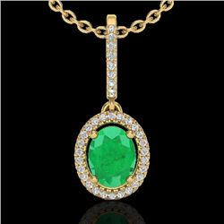 2 CTW Emerald & Micro Pave VS/SI Diamond Necklace Solitaire Halo 18K Yellow Gold - REF-70M9F - 20659