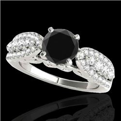2 CTW Certified VS Black Diamond Solitaire Ring 10K White Gold - REF-95A6V - 35271