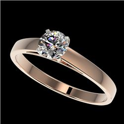 0.50 CTW Certified H-SI/I Quality Diamond Solitaire Engagement Ring 10K Rose Gold - REF-54N2A - 3295