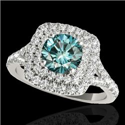 1.60 CTW SI Certified Fancy Blue Diamond Solitaire Halo Ring 10K White Gold - REF-180N2A - 33362