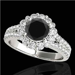 2.51 CTW Certified VS Black Diamond Solitaire Halo Ring 10K White Gold - REF-111W3H - 33943