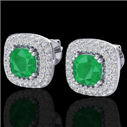 2.16 CTW Emerald & Micro VS/SI Diamond Earrings Double Halo 18K White Gold - REF-105N6A - 20344