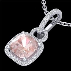 2.75 CTW Morganite & Micro VS/SI Diamond Certified Halo Necklace 18K White Gold - REF-79Y5X - 22986