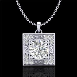 1.02 CTW VS/SI Diamond Solitaire Art Deco Necklace 18K White Gold - REF-200K2W - 37271