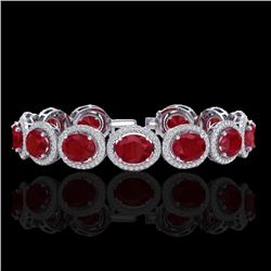 30 CTW Ruby & Micro Pave VS/SI Diamond Certified Bracelet 10K White Gold - REF-454K5W - 22695