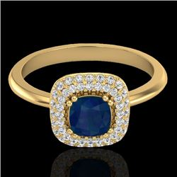 1.16 CTW Sapphire & Micro VS/SI Diamond Ring Double Halo 18K Yellow Gold - REF-71X6R - 21036