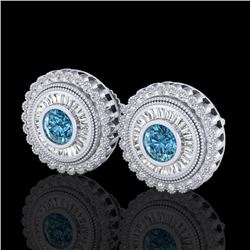 2.61 CTW Fancy Intense Blue Diamond Art Deco Stud Earrings 18K White Gold - REF-300Y2X - 37908