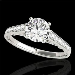 1.35 CTW H-SI/I Certified Diamond Solitaire Ring 10K White Gold - REF-156M4F - 34907