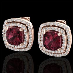 4.55 CTW Garnet & Micro Pave VS/SI Diamond Certified Halo Earrings 14K Rose Gold - REF-84W7H - 20164