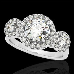 1.75 CTW H-SI/I Certified Diamond Solitaire Halo Ring 10K White Gold - REF-180M2F - 33285