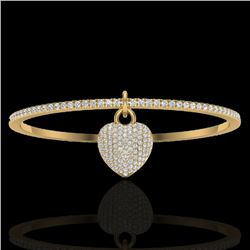3.50 CTW Eternity Micro Pave VS/SI Diamond Eternity Bangle 14K Yellow Gold - REF-259N6A - 20038
