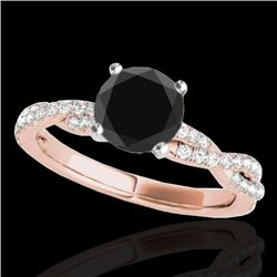 1.25 CTW Certified VS Black Diamond Solitaire Ring 10K Rose Gold - REF-54W9H - 35236