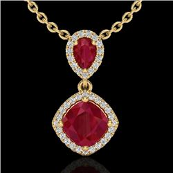 3.50 CTW Ruby & Micro Pave VS/SI Diamond Certified Necklace Halo 10K Yellow Gold - REF-63R6K - 20547