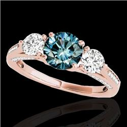 1.75 CTW SI Certified Fancy Blue Diamond 3 Stone Ring 10K Rose Gold - REF-209A3V - 35355