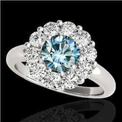 2.85 CTW SI Certified Fancy Blue Diamond Solitaire Halo Ring 10K White Gold - REF-309H3M - 34437