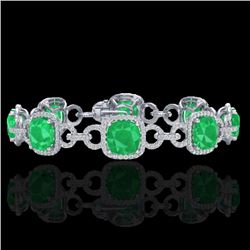 25 CTW Emerald & Micro VS/SI Diamond Certified Bracelet 14K White Gold - REF-457M3F - 23021