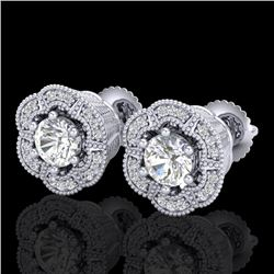 1.51 CTW VS/SI Diamond Solitaire Art Deco Stud Earrings 18K White Gold - REF-263M6F - 37106
