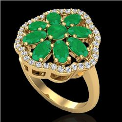 4 CTW Emerald & VS/SI Diamond Certified Cluster Designer Halo Ring 10K Yellow Gold - REF-60R9K - 207