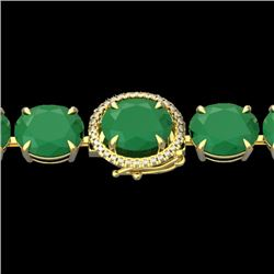 76 CTW Emerald & Micro Pave VS/SI Diamond Halo Bracelet 14K Yellow Gold - REF-461H5M - 22258