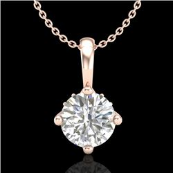 0.82 CTW VS/SI Diamond Solitaire Art Deco Stud Necklace 18K Rose Gold - REF-180F2N - 37026