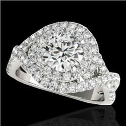 2 CTW H-SI/I Certified Diamond Solitaire Halo Ring 10K White Gold - REF-236N4A - 33873