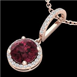 2.75 CTW Garnet & Micro Pave VS/SI Diamond Necklace Designer Halo 14K Rose Gold - REF-46F2N - 23198
