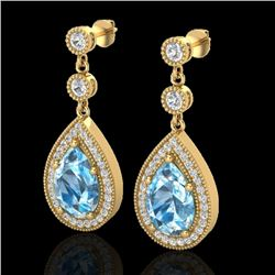 7.50 CTW Sky Topaz & Micro Pave VS/SI Diamond Earrings Designer 18K Yellow Gold - REF-68V9Y - 23126