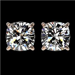 2 CTW Certified VS/SI Quality Cushion Cut Diamond Stud Earrings 10K Rose Gold - REF-585W2H - 33098