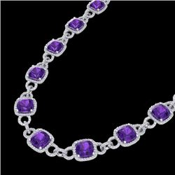 66 CTW Amethyst & Micro VS/SI Diamond Eternity Necklace 14K White Gold - REF-794M5F - 23035