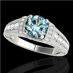 1.75 CTW SI Certified Blue Diamond Solitaire Antique Ring 10K White Gold - REF-218R2K - 34788