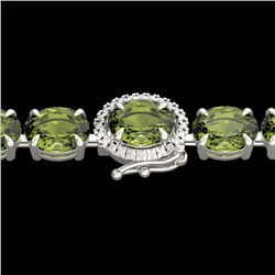 27 CTW Green Tourmaline & VS/SI Diamond Tennis Micro Halo Bracelet 14K White Gold - REF-243F5N - 234