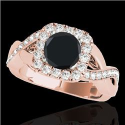 2 CTW Certified VS Black Diamond Solitaire Halo Ring 10K Rose Gold - REF-91H3M - 33320