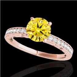 1.43 CTW Certified SI Intense Yellow Diamond Solitaire Antique Ring 10K Rose Gold - REF-180V2Y - 346