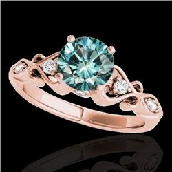 1.15 CTW SI Certified Fancy Blue Diamond Solitaire Antique Ring 10K Rose Gold - REF-156A4V - 34816