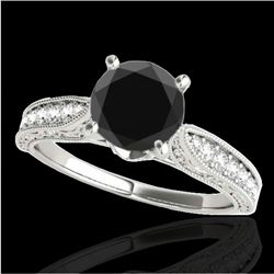 1.50 CTW Certified VS Black Diamond Solitaire Antique Ring 10K White Gold - REF-52Y5X - 34732