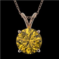 1.50 CTW Certified Intense Yellow SI Diamond Solitaire Necklace 10K Rose Gold - REF-285H2M - 33229
