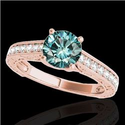1.32 CTW SI Certified Fancy Blue Diamond Solitaire Ring 10K Rose Gold - REF-154M4F - 34949