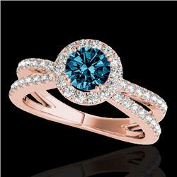 1.55 CTW SI Certified Fancy Blue Diamond Solitaire Halo Ring 10K Rose Gold - REF-178M2F - 33852