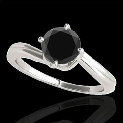 1 CTW Certified VS Black Diamond Bypass Solitaire Ring 10K White Gold - REF-44X7R - 35033