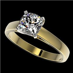 1.25 CTW Certified VS/SI Quality Cushion Cut Diamond Solitaire Ring 10K Yellow Gold - REF-372M3F - 3