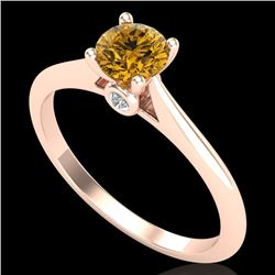 0.56 CTW Intense Fancy Yellow Diamond Engagement Art Deco Ring 18K Rose Gold - REF-81W8H - 38191