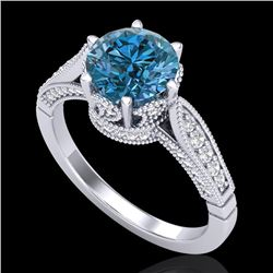 2.2 CTW Intense Blue Diamond Solitaire Engagement Art Deco Ring 18K White Gold - REF-314R5K - 38090