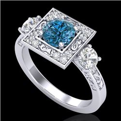 1.55 CTW Intense Blue Diamond Solitaire Art Deco 3 Stone Ring 18K White Gold - REF-178X2R - 38174