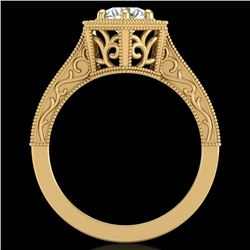 0.77 CTW VS/SI Diamond Art Deco Ring 18K Yellow Gold - REF-218F2N - 36898